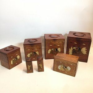 Rooster Wooden Dovetail Canister Set Vtg Japan MCM